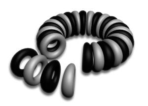 Bild 3. Monopoler som bildar en kärna